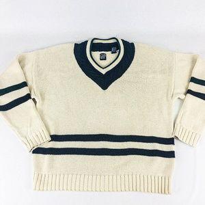 Vintage Men's Ivory Gap Stripe V-Neck 90s XL